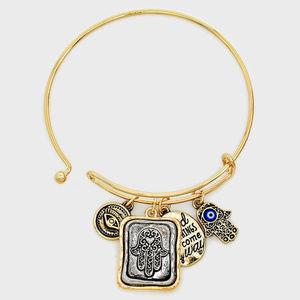 "Jewelry - "" Evil Eye Hamsa Hand Hook Bracelet"